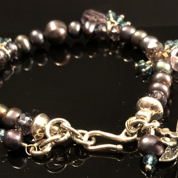 """Dragonfly Freshwater Pearls, Amethyst, Sterling Silver, Crystals Adjustable Length Bracelet Luxe Wedding 7""""-8"""""""