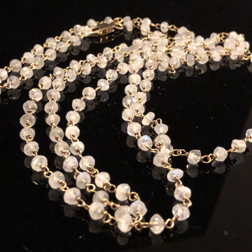SOLD  Necklace Moonstone Wire Wrap Luxe Wedding 42""
