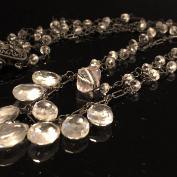 SOLD  Quartz Crystal Double Strand Necklace Handmade 20""