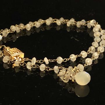 "SOLD  Bracelet Moonstone Double Wrap Bracelet Luxe Wedding Wire Wrapped 16"""