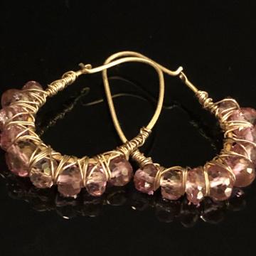 """Earrings Hoop Pink Topaz 24K GF Wire Wrapped Earrings Luxe Jewelry Wedding Bride Kidney Vermeil Hoops Pink Gemstones 1.50"""""""