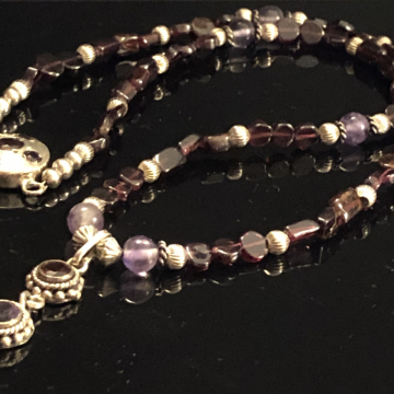 SOLD  Garnet and Amethyst Pendant Necklace January & February Birthstone