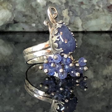 Tanzanite Peacock Sterling & Fine Silver Ring Size US 9.5