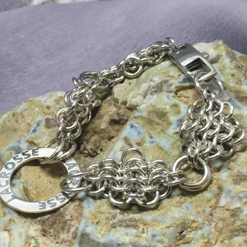 Donated to Auction Lacrosse Chain Maille Diamonds Are A Girls Best Friend Sterling Silver 16 Gauge 6.75 inches