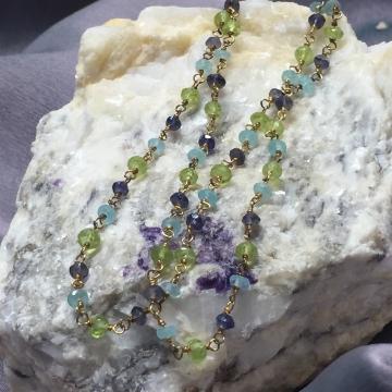 """SOLD Bracelet Multi Gemstone Double Wrap Bracelet Luxe Wedding Wire Wrapped 15"""""""