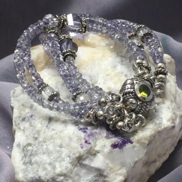 "SOLD Denim Blue Quartz Five Strand Peridot Box Clasp Luxe Boho Gypsy Bohemian Jewelry Gemstones Handmade 7.5"" Trendy Artisan Fine"