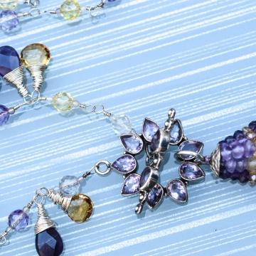 "SOLD Amethyst Rain Citrine & Ametrine Necklace Handmade Chain 19"" 2"" Tassel Pendant Purple Yellow"