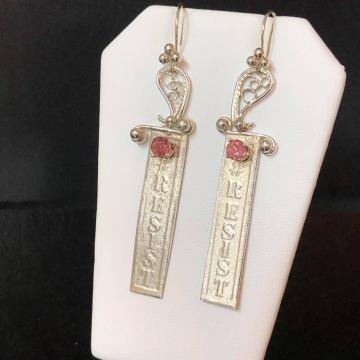 "Pink Tourmaline Argentium Silver Earrings Luxe Jewelry Wedding Bride Pink Gemstones 2.375"""