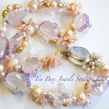 """SOLD Pink Sea Petals Sensual Playful Statement Necklace Freshwater Pearls Moonstone Amethyst Rose Quartz 6 Strand Cluster Luxe Wedding Luxury 20"""""""