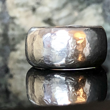 Argentium Silver Handforged Hammered Dome Wide Band Silversmith Jewelry Ring Size US 9.5-10