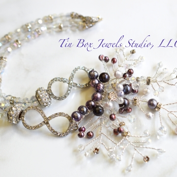 SOLD Wedding Necklace Snowflakes & Pearls Crystal Necklace Freshwater Pearls Statement Necklace Holiday Infinity