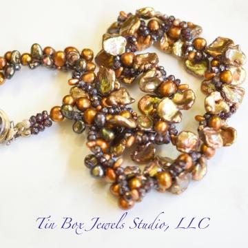 "SOLD Topaz Freshwater Pearls Garnets 5 Strand Cluster Wrap Luxe Wedding Holiday Luxury 17"" Smoky Quartz Box Clasp"